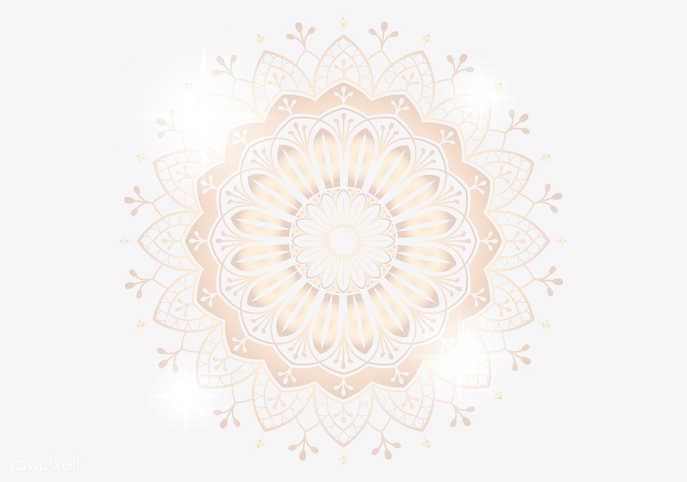Golden mandala on white background vector image by rawpixel 1400x982