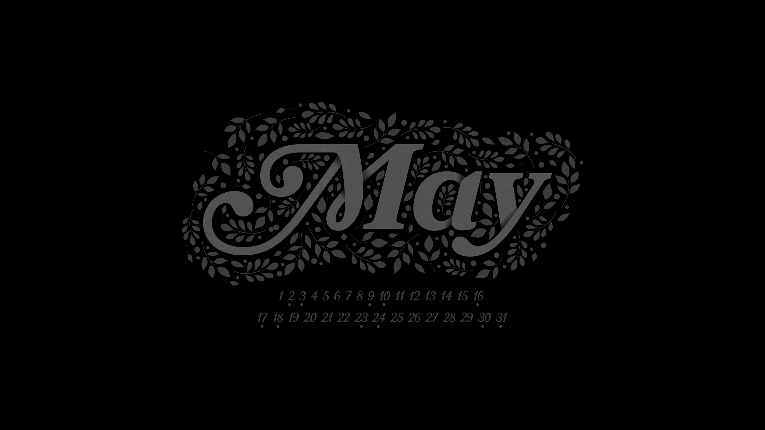 May 2015 Desktop Calendar Wallpaper Paper Leaf 2560x1440