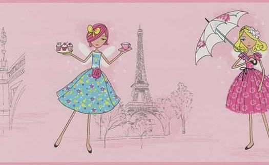 Pink Paris Tea Time Wallpaper Border   Baby Nursery Kids 525x322