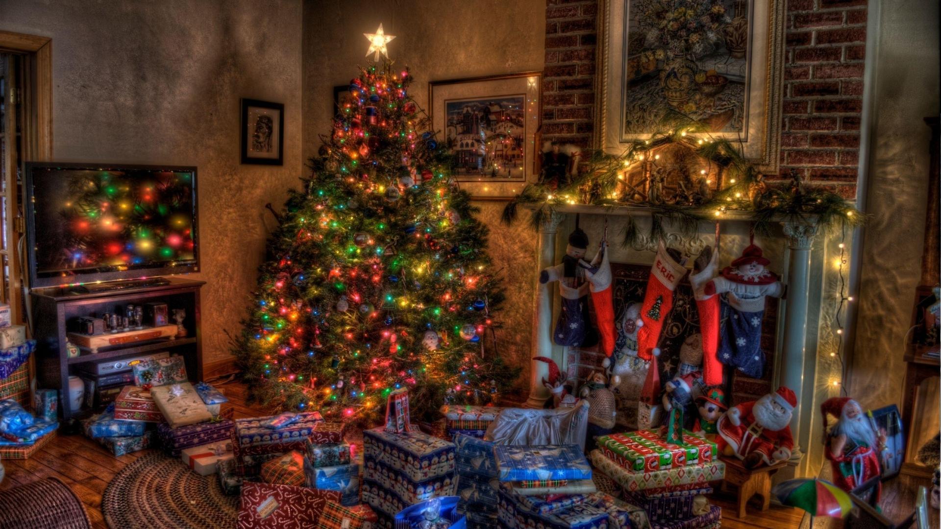 christmas comfort stockings holiday presents tree fireplace 1920x1080