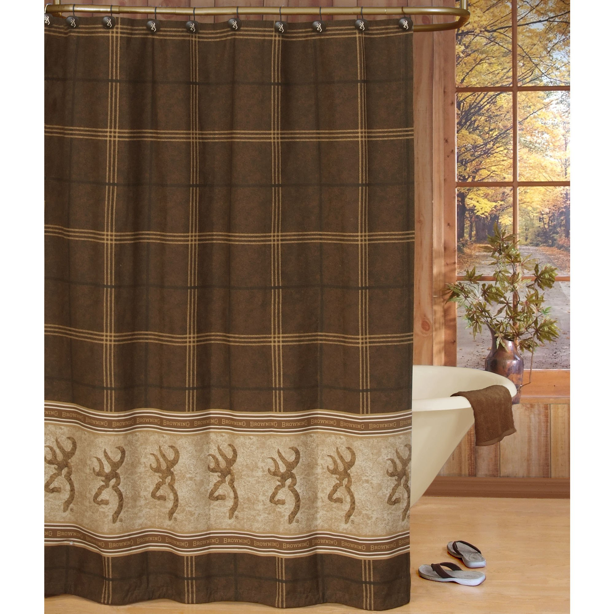 Home BrowningR Buckmark Shower Curtain Chocolate 6 Square 2000x2000