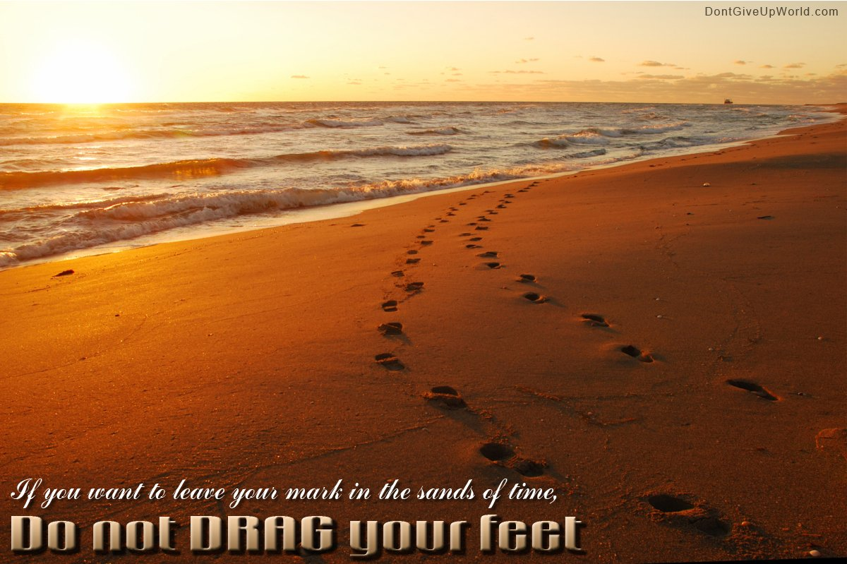 Motivational Wallpaper on Time Footprints on the Sands of Time 1200x799