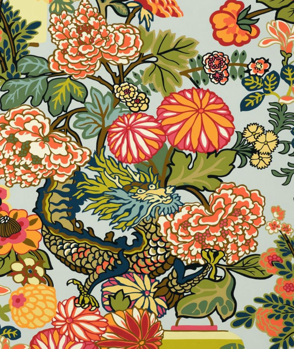 Schumacher Chiang Mai Dragon Wallpaper House of Ruby Interior Design 960x1140