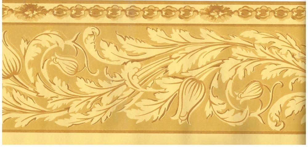 Garden Crown Moulding Gold Tones Wallpapper Border Decor eBay 1000x480