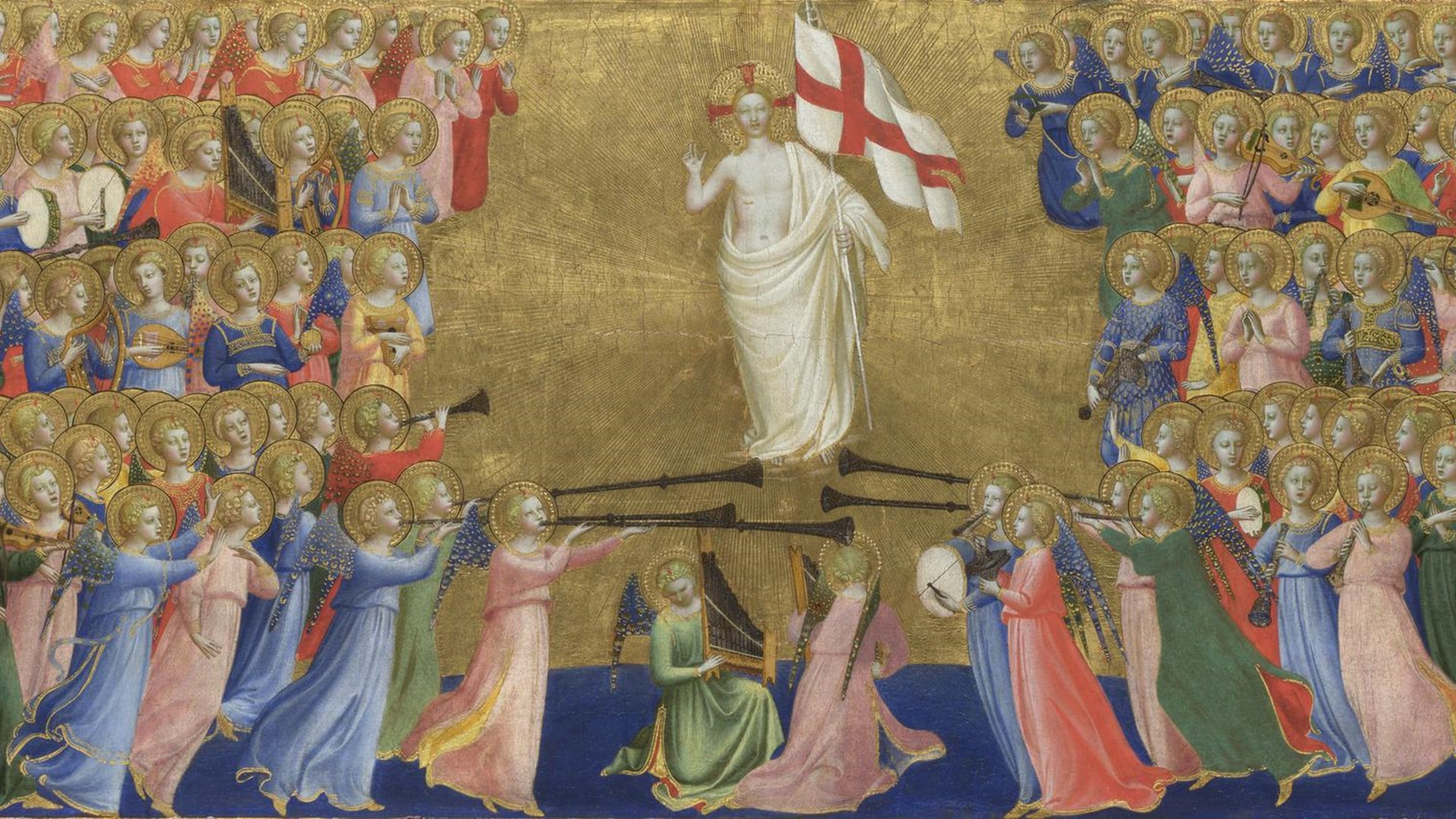 Probably by Fra Angelico Christ Glorified in the Court of Heaven 1920x1080