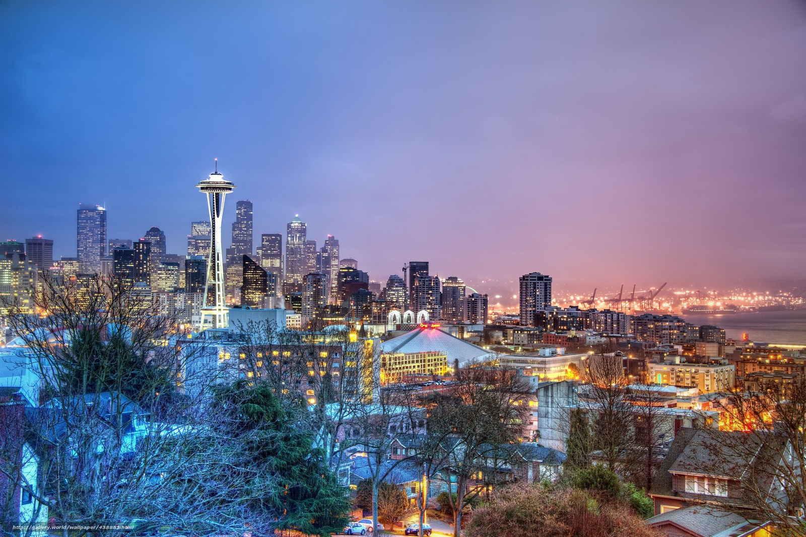 Download wallpaper seattle Seattle night city panorama desktop 1600x1065