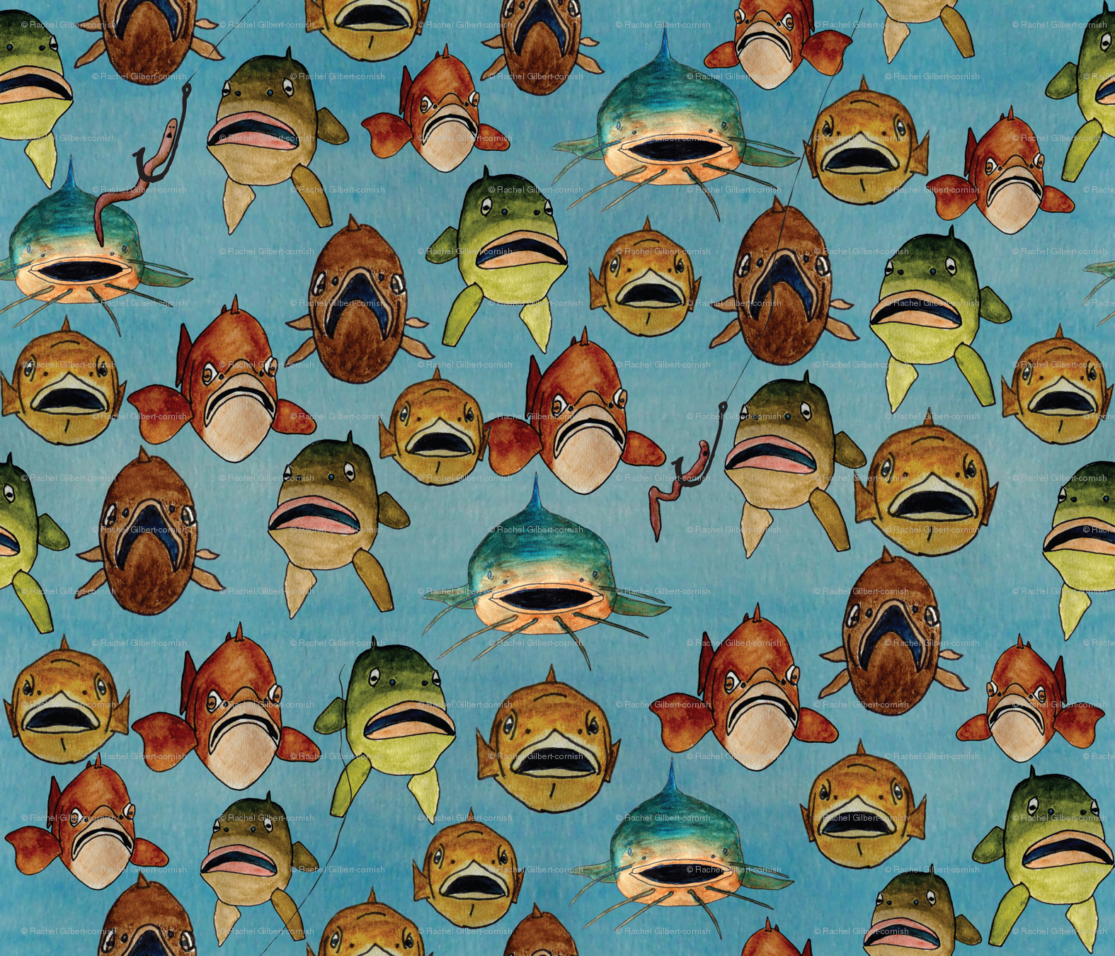 fishing with worms wallpaper   babysisterrae   Spoonflower 1575x1350