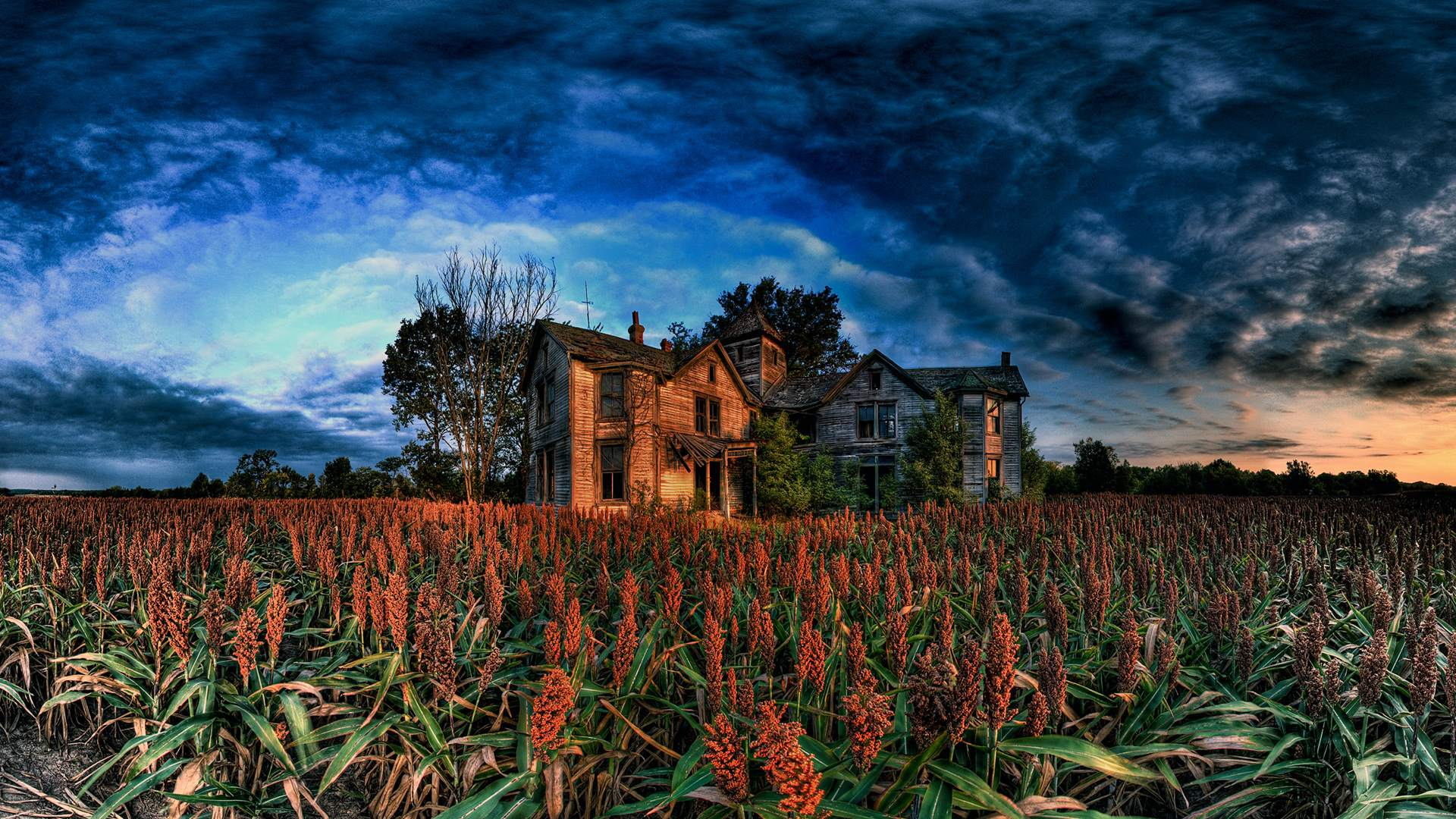 Download Sunset Wallpaper wallpaper Old House 1920x1080