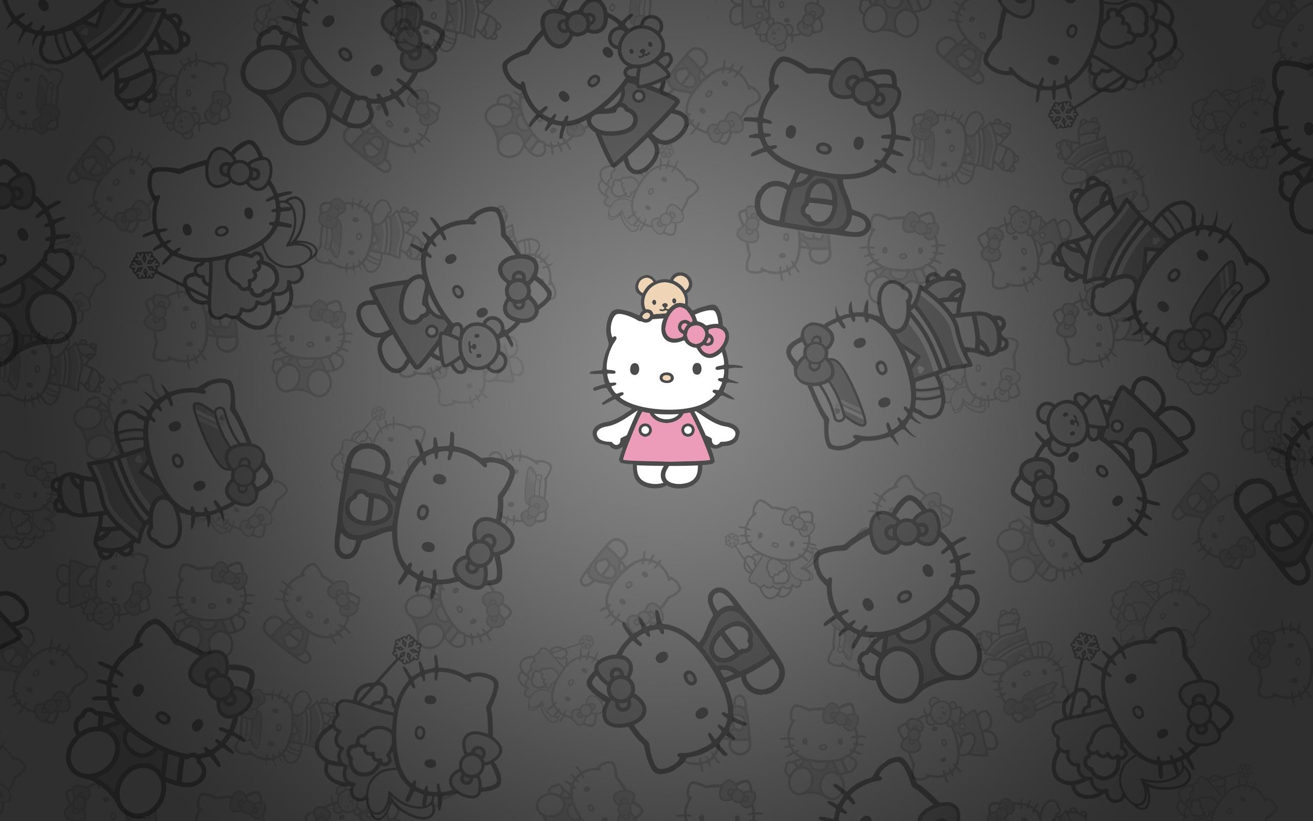 Hello Kitty Dark Design Background HD Wallpaper #5839 | HD Wallpaper ...