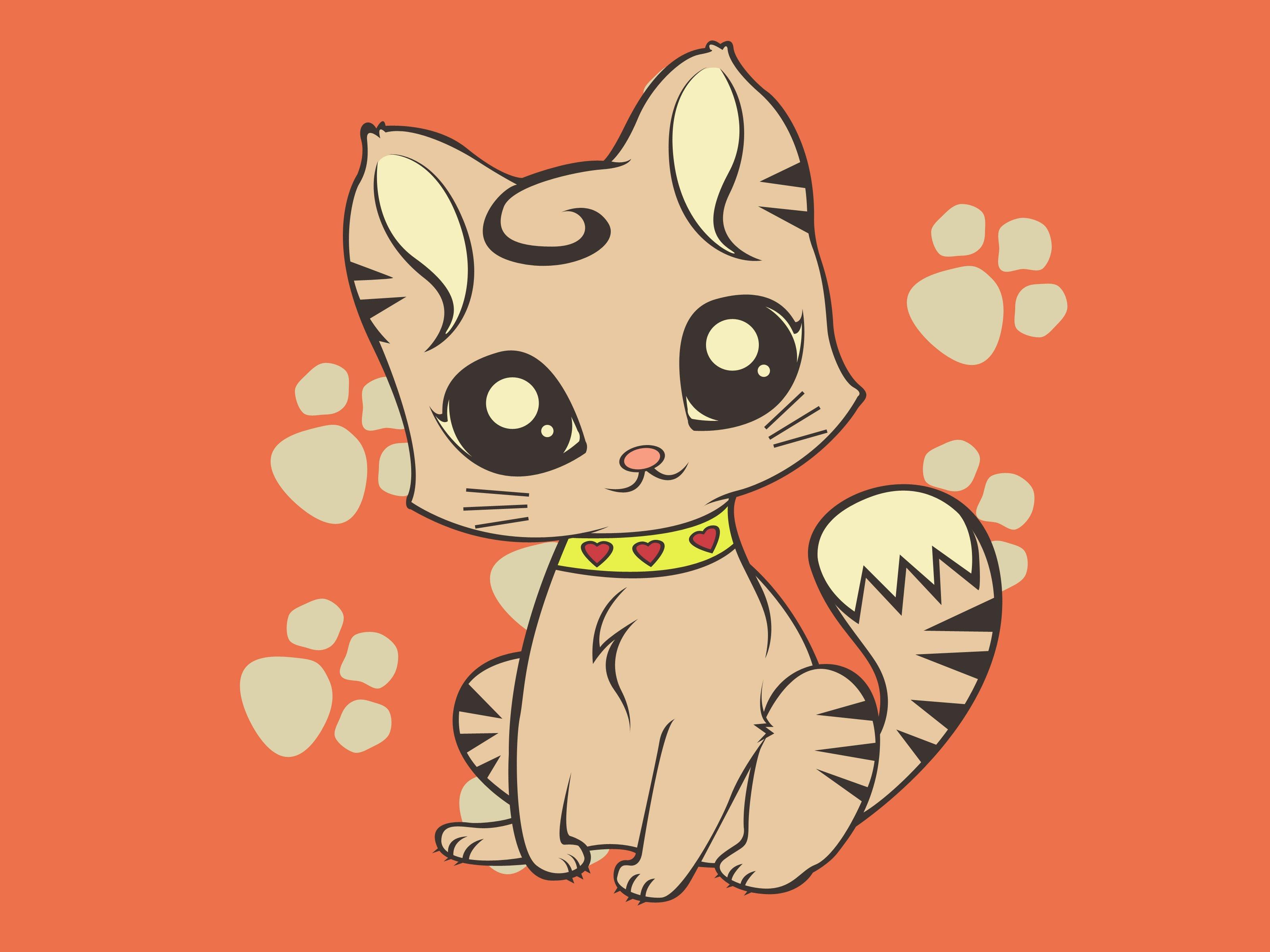 46 Cute Cartoon Cat Wallpaper On Wallpapersafari