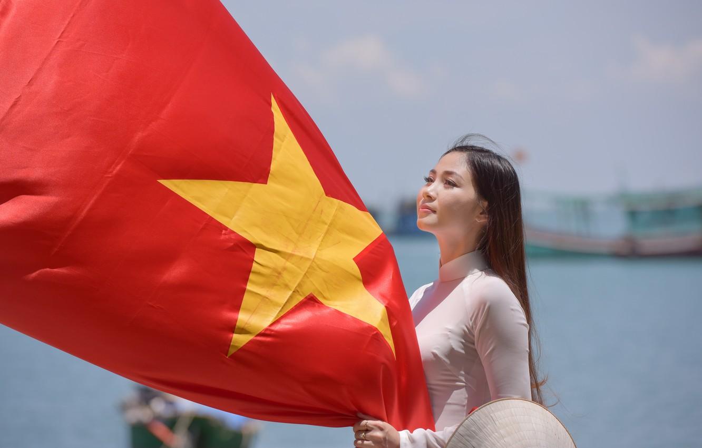 Wallpaper girl face star dress flag Vietnam images for 1332x850