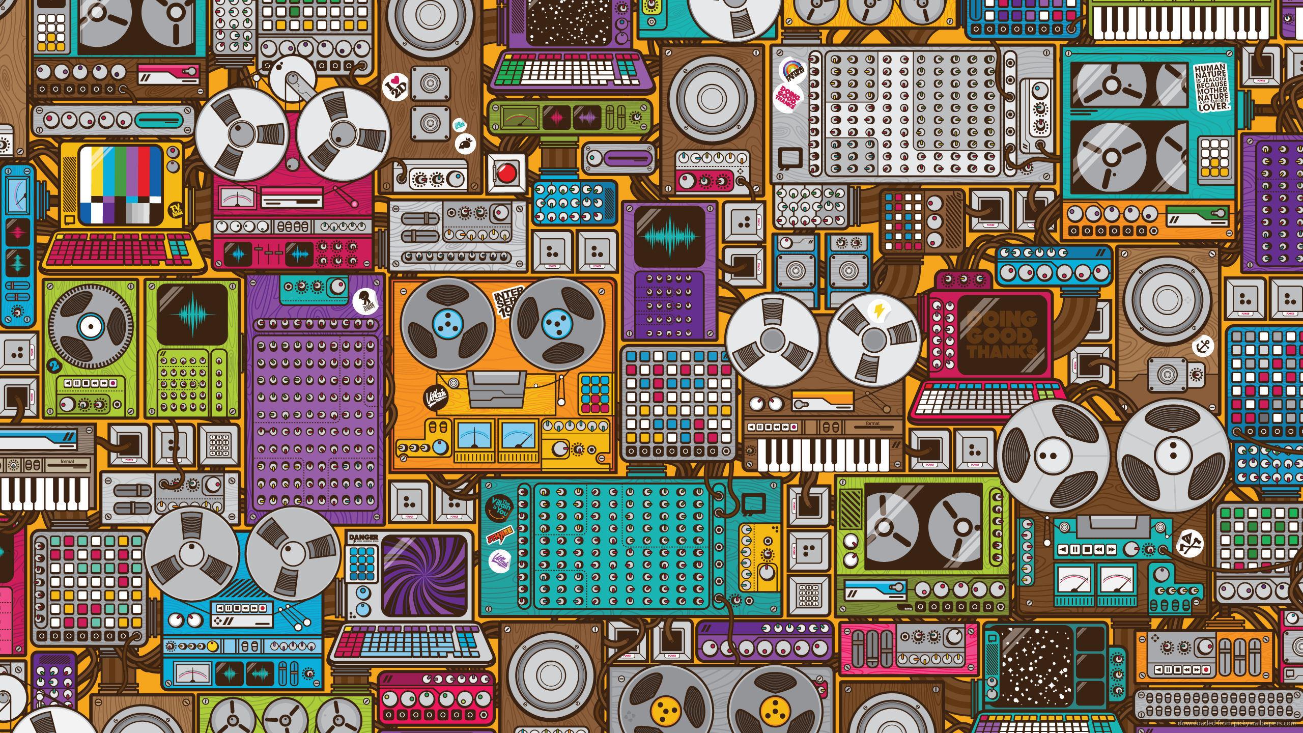 retro music wallpaper devices pattern 2560x1440