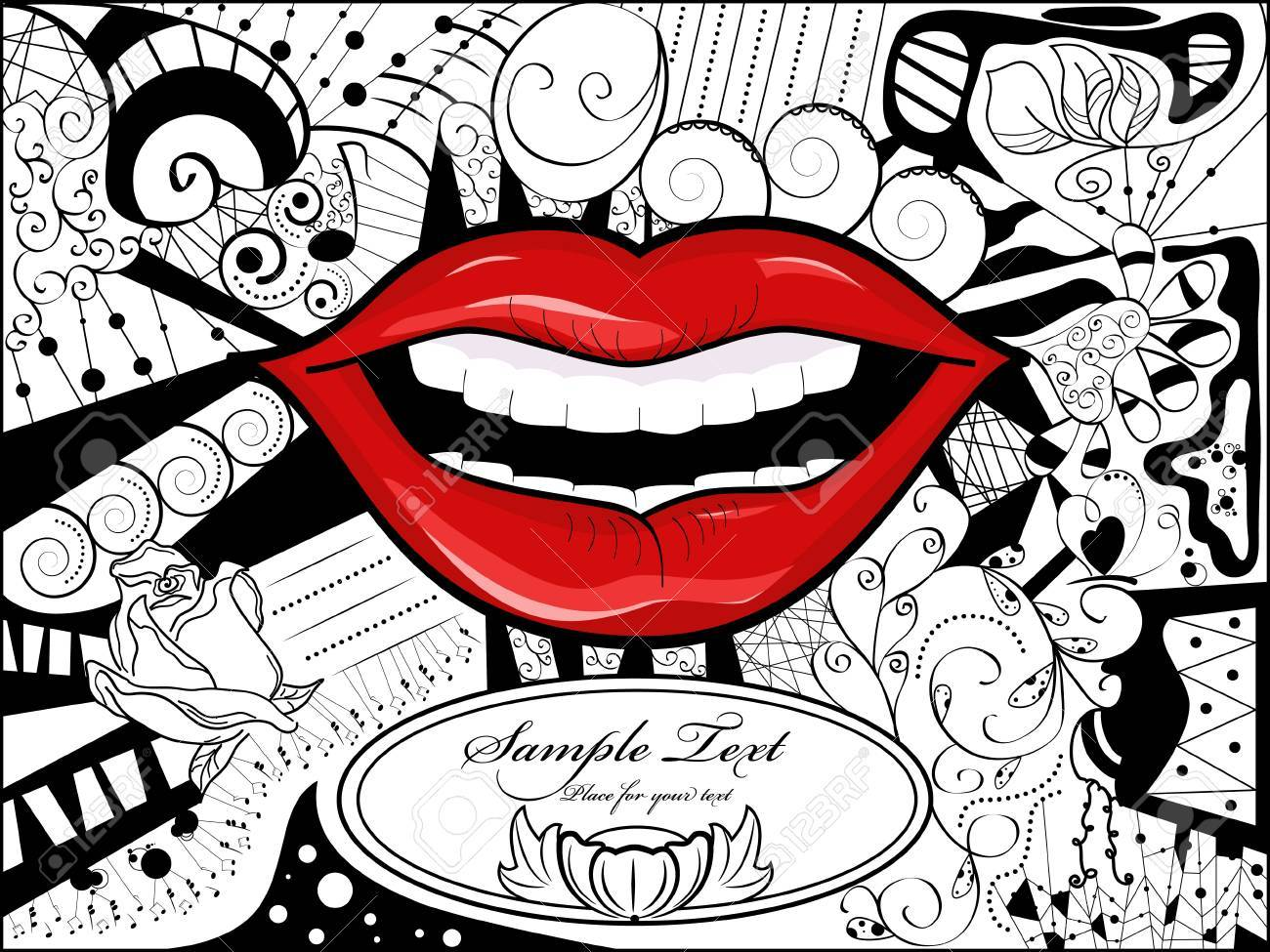 Vector Picture With Lips Bizarre Background And Space For Your 1300x975