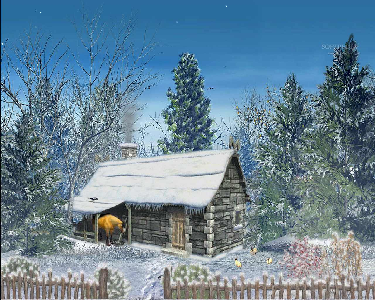 Snowy Hut   Animated Screensaver   This is the image displayed by 1280x1024