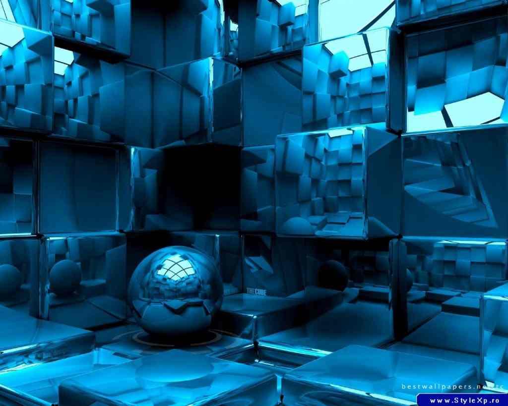 Wallpapers   Love Your Desktop 3D Blue Blocks And Ball Wallpaper 1024x819