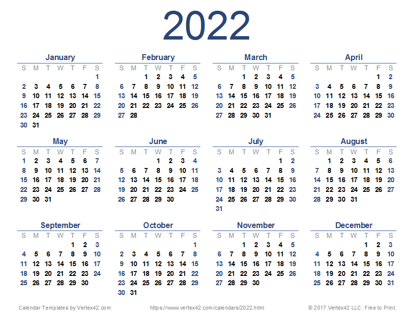 2022 Calendar Templates and Images 847x643