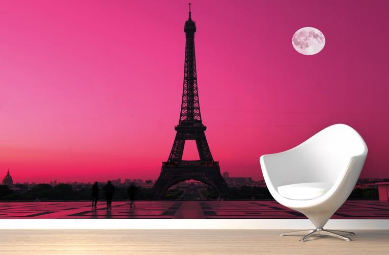 Paris Pink Sunset Wallpaper Wall Mural MuralsWallpapercouk 764x500