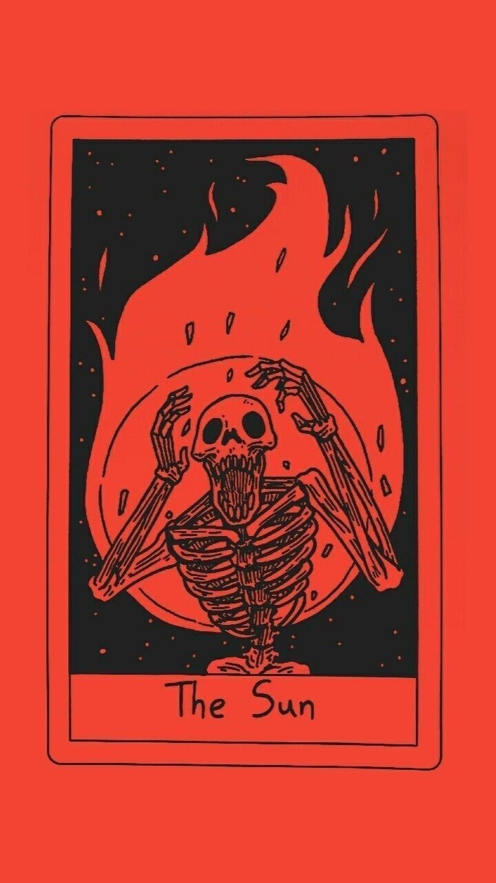 Red skeleton cart aesthetic wallpaper on We Heart It 720x1280