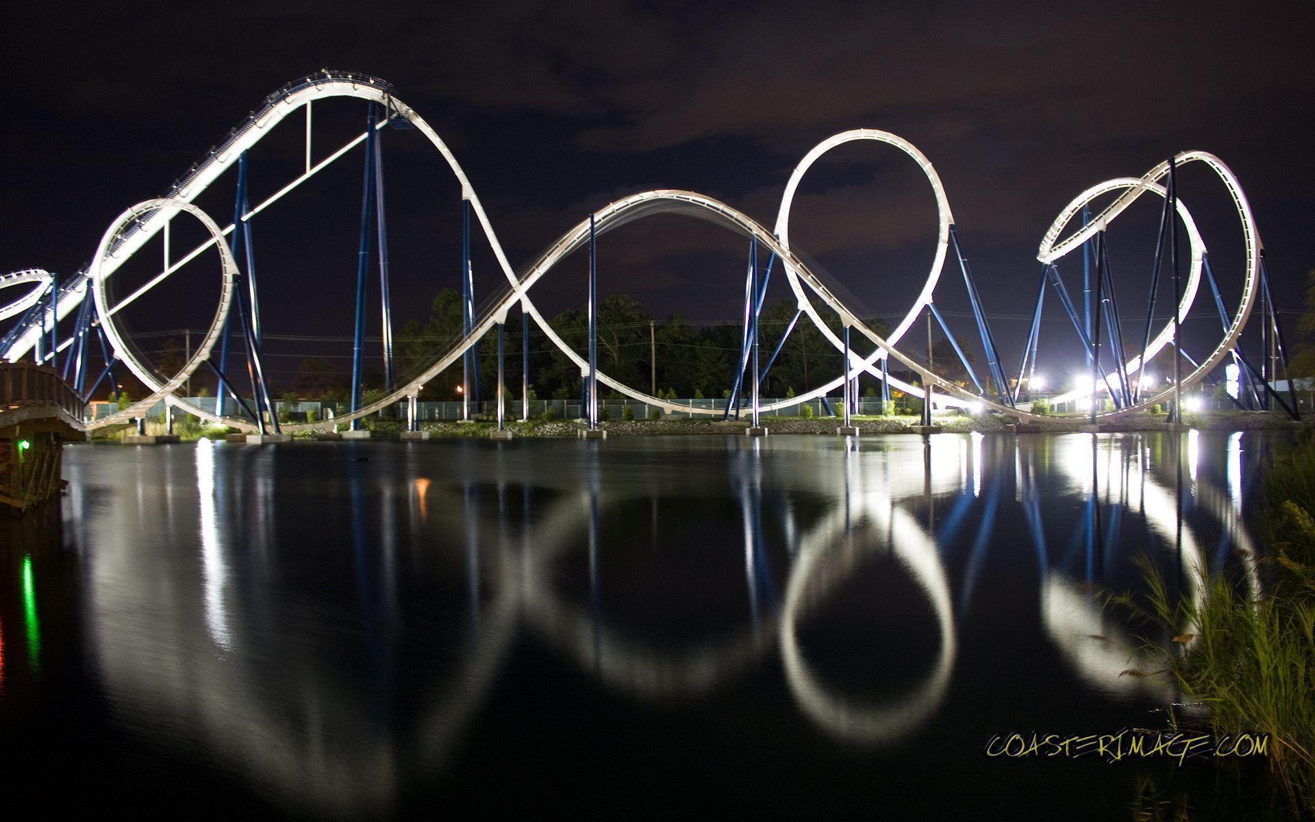 Обои Rollercoaster ride, ночь. Города foto 15