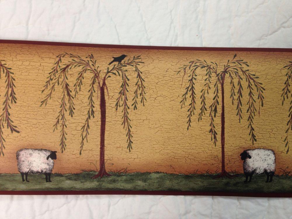 Primitive Sheep Willow Tree Crow Wallpaper Border eBay 1000x750