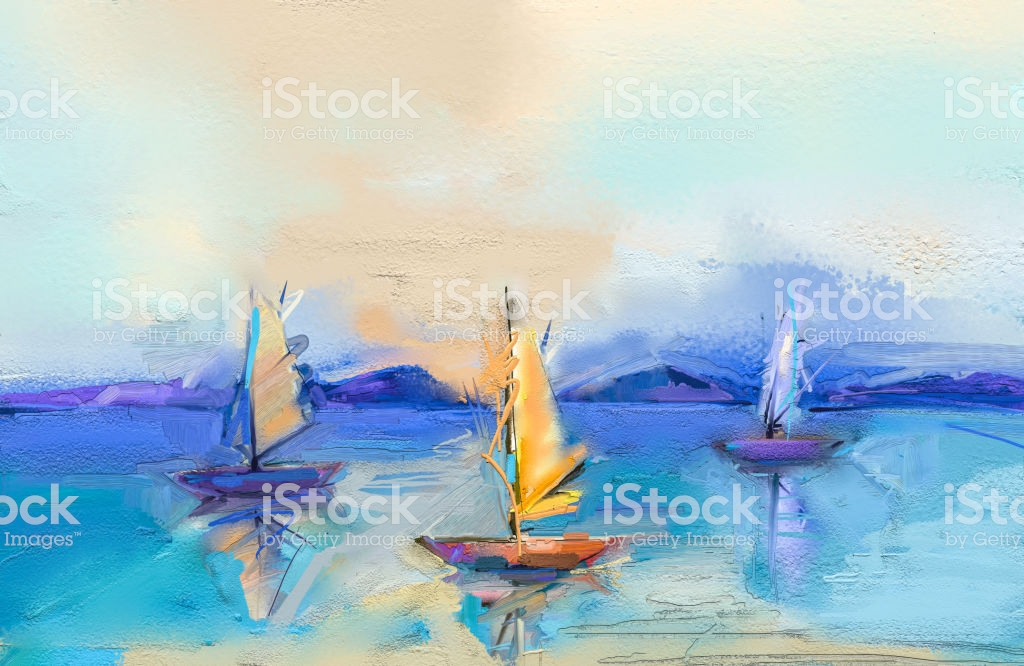 Modern Art Oil Paintings With Boat Sail On Sea Abstract 1024x666