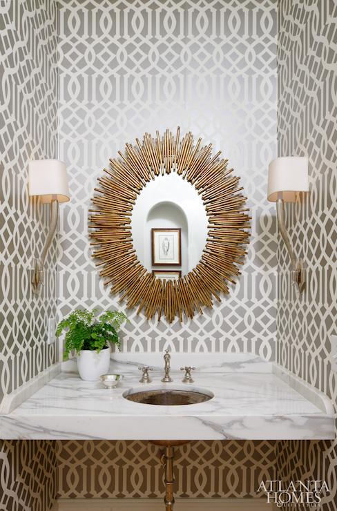 Gray Trellis Wallpaper   Contemporary   bathroom   Atlanta Homes 488x740