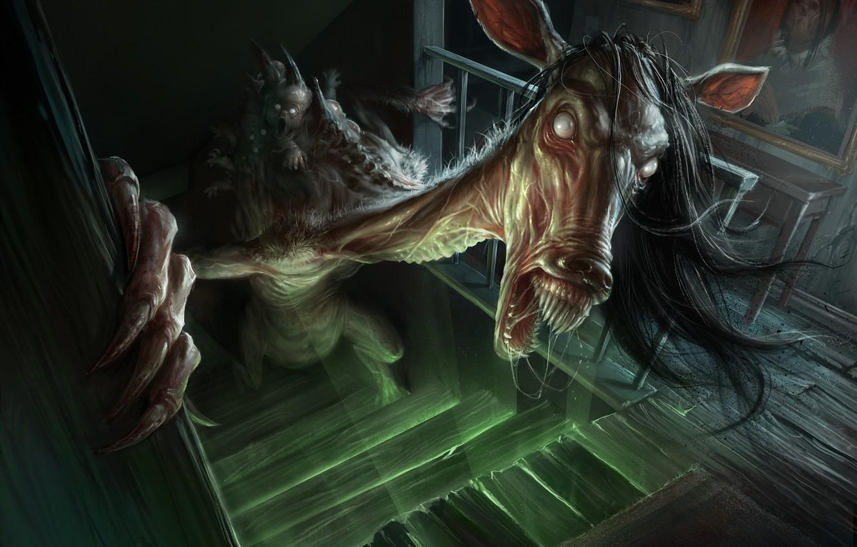 Wallpaper horse creepy stairs humanoid creature demoniac 1332x850