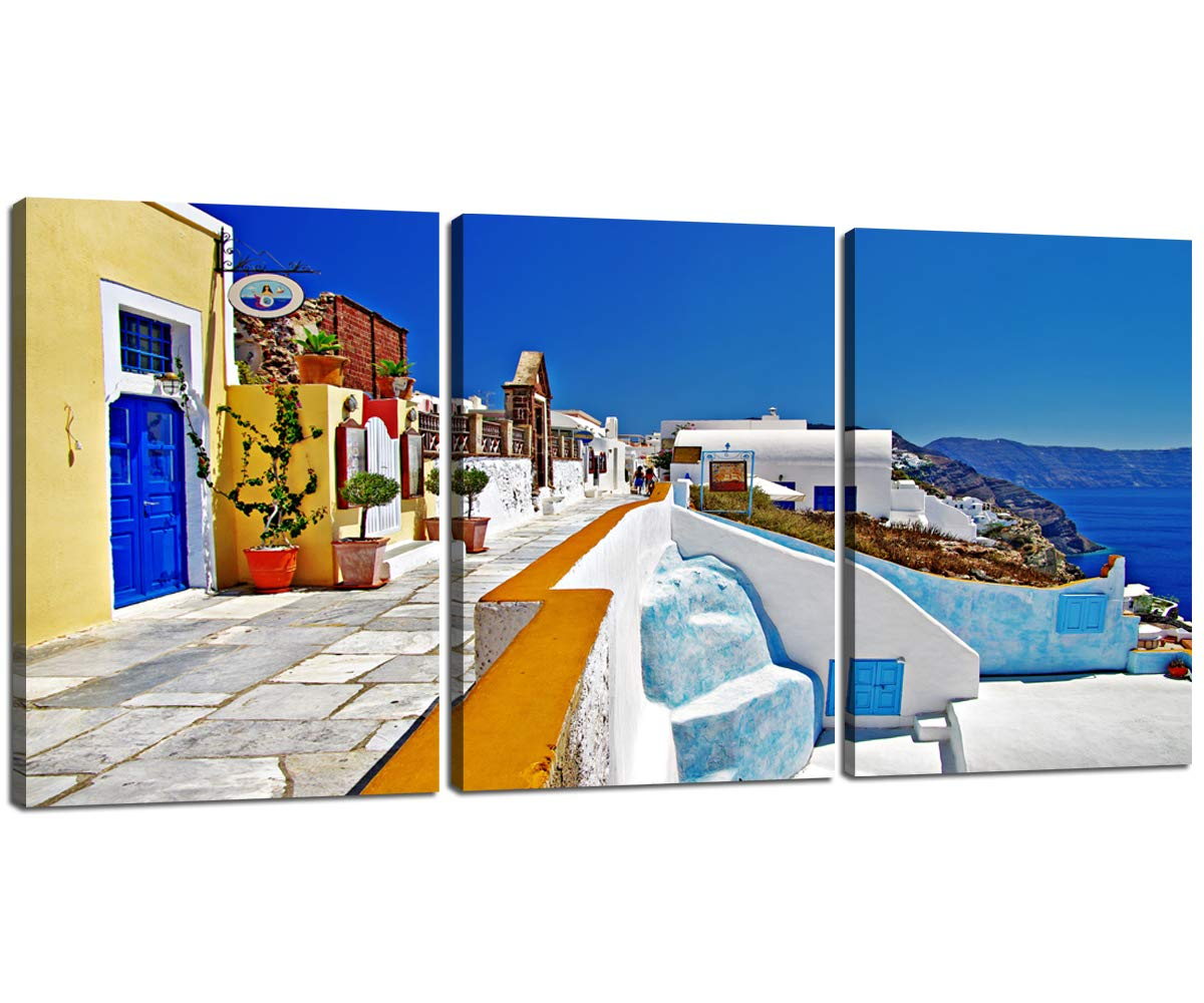 Modern Canvas Art Wall Prints 3 Panel Mediterranean Greece Scenery 1200x1000