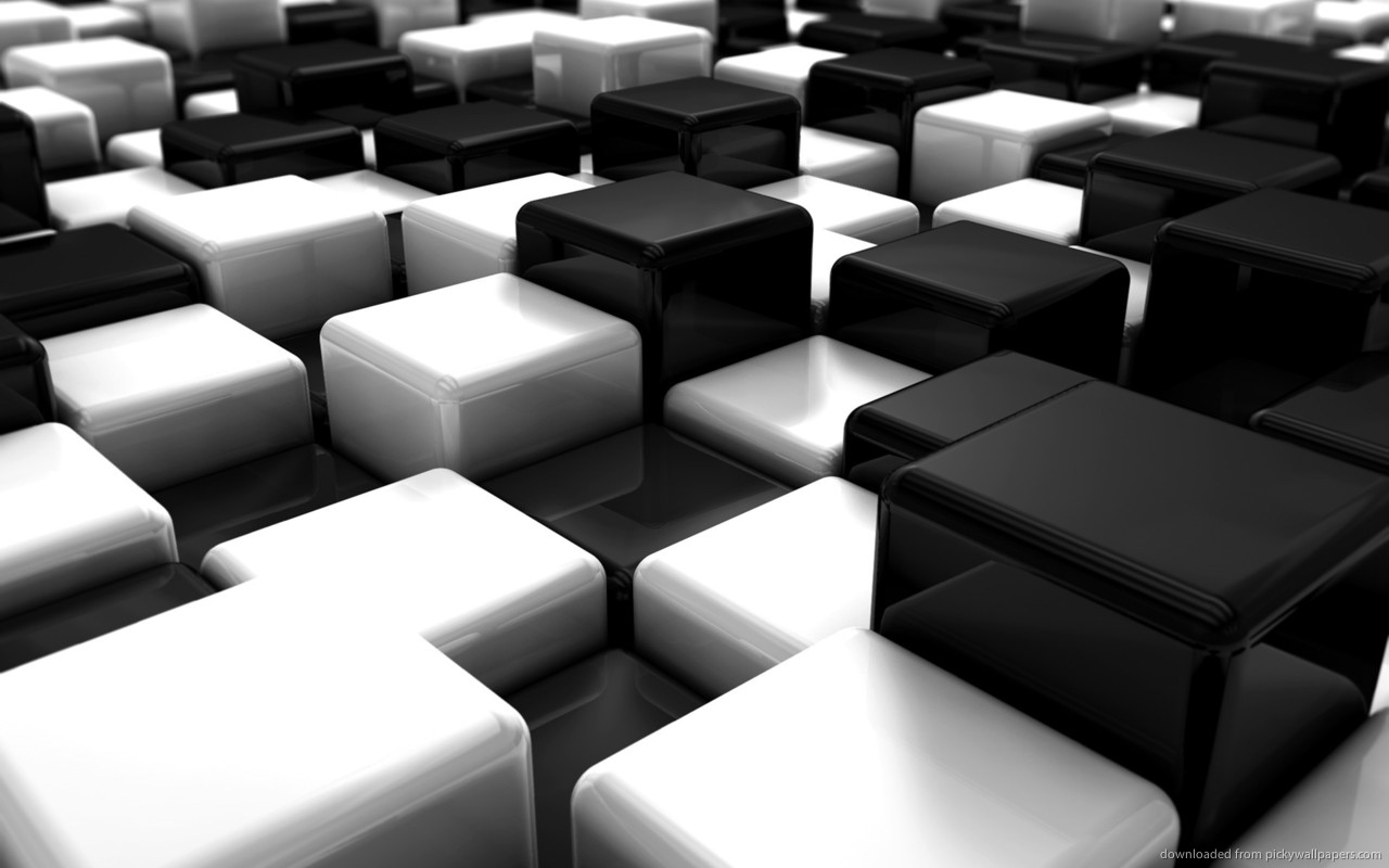 Download 1280x800 Black And White 3D Cubes Wallpaper 1280x800