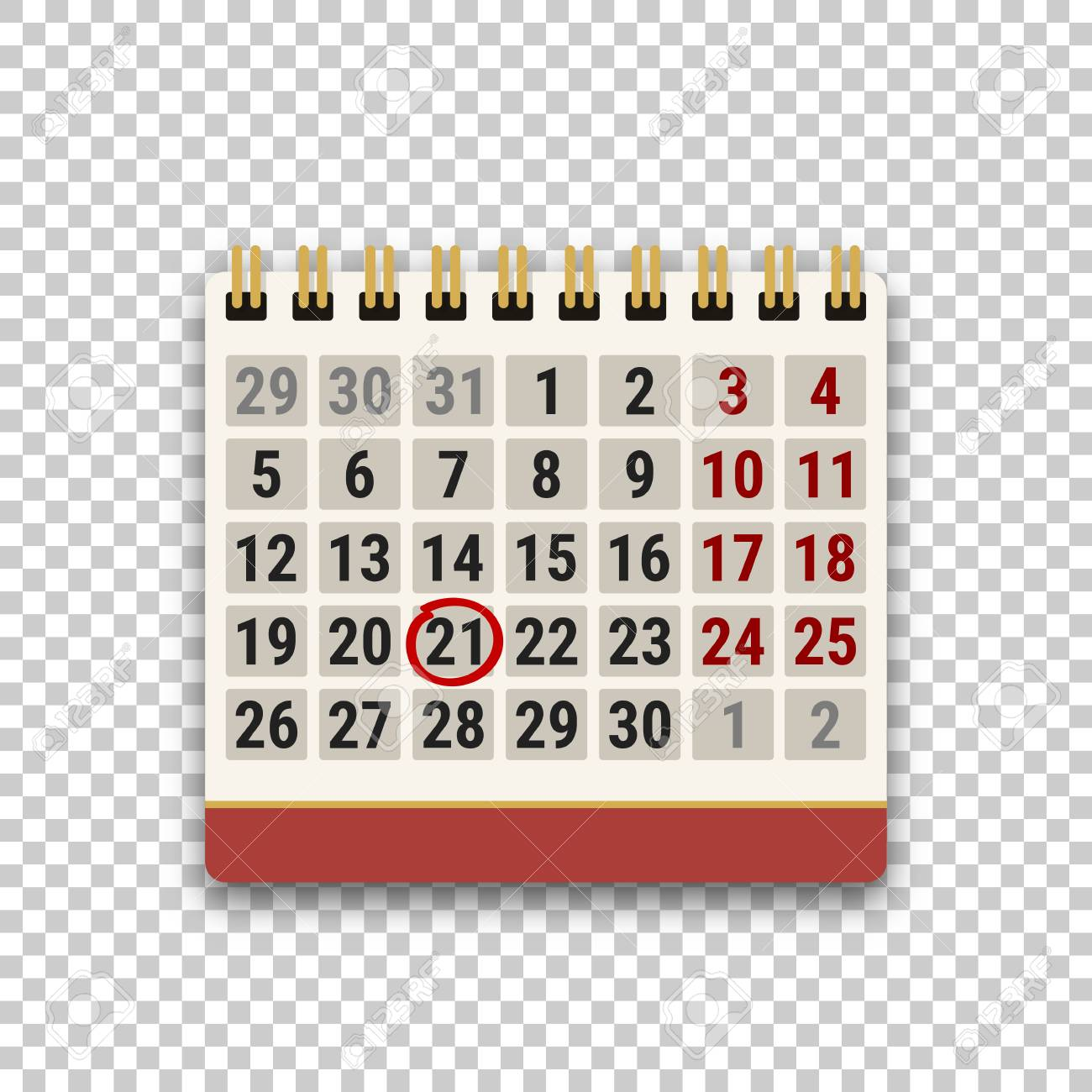 Flip Calendar Icon With A Marked Date On Transparent Background 1300x1300