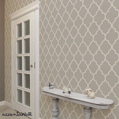 Moroccan Warm Grey Peel and Stick Fabric Wallpaper   2ft x 4ft sheet 500x500