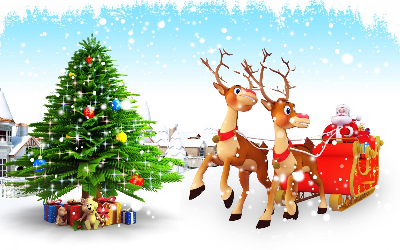 Christmas Tree And Santa Cartoon Wallpaper photos of Christmas Cartoon 1680x1050