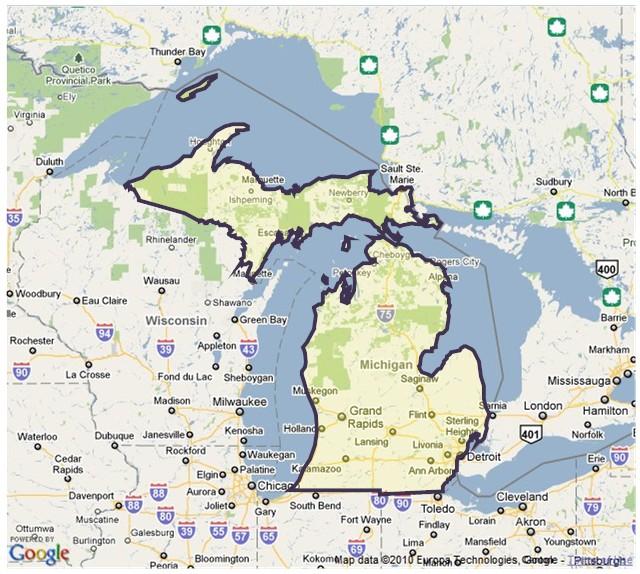 Michigan State Map   Babes HD Wallpaper 640x574