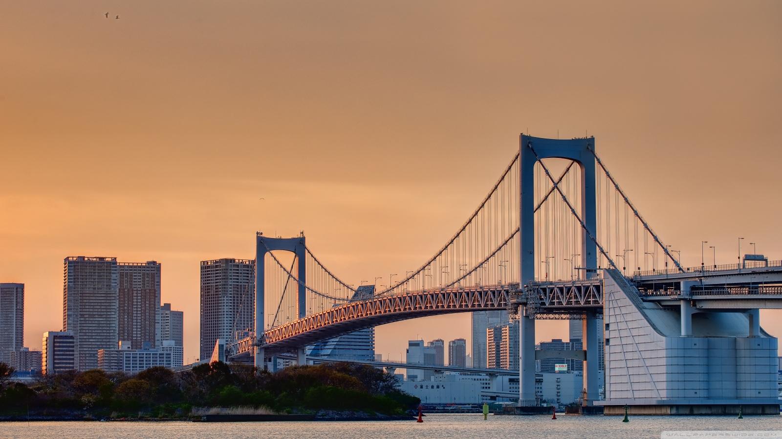 Odaiba Rainbow Bridge 4K HD Desktop Wallpaper for 4K Ultra HD 1600x900