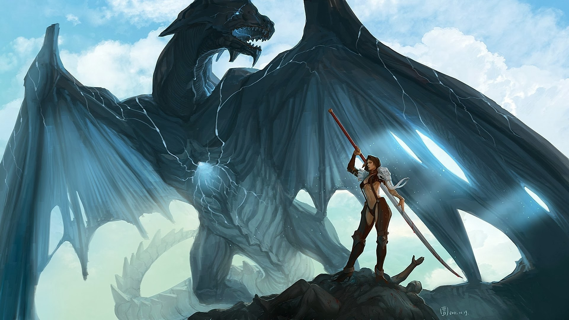 dragon fantasy warrior girl wallpaper hd 1920x1080 a691 1920x1080