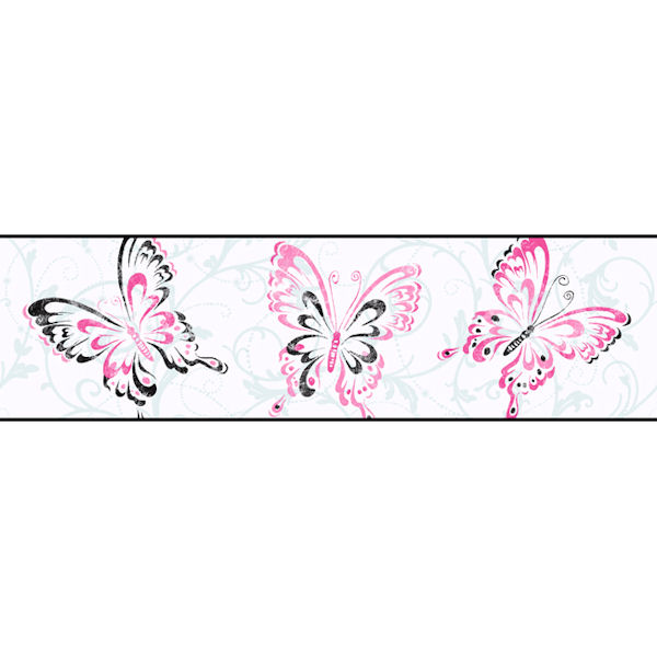 White Butterfly Scroll Border   Wall Sticker Outlet 600x600
