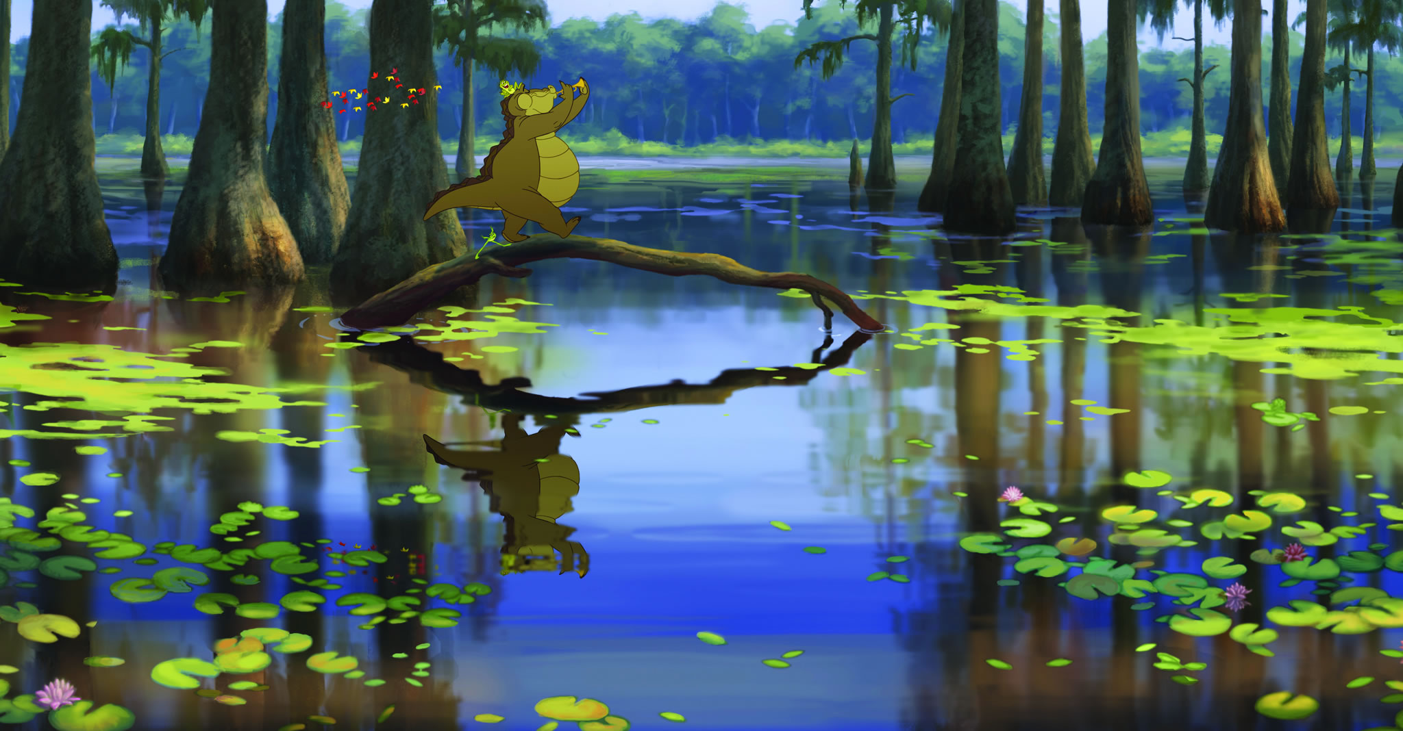 Louis the Gator in the Bayou from Princess and the Frog Desktop 2048x1068