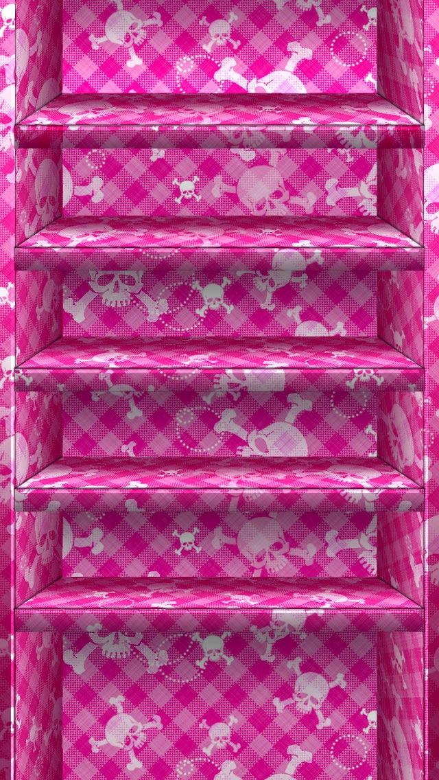 Cute Pink Skull Shelves Wallpaper   iPhone Wallpapers 640x1136
