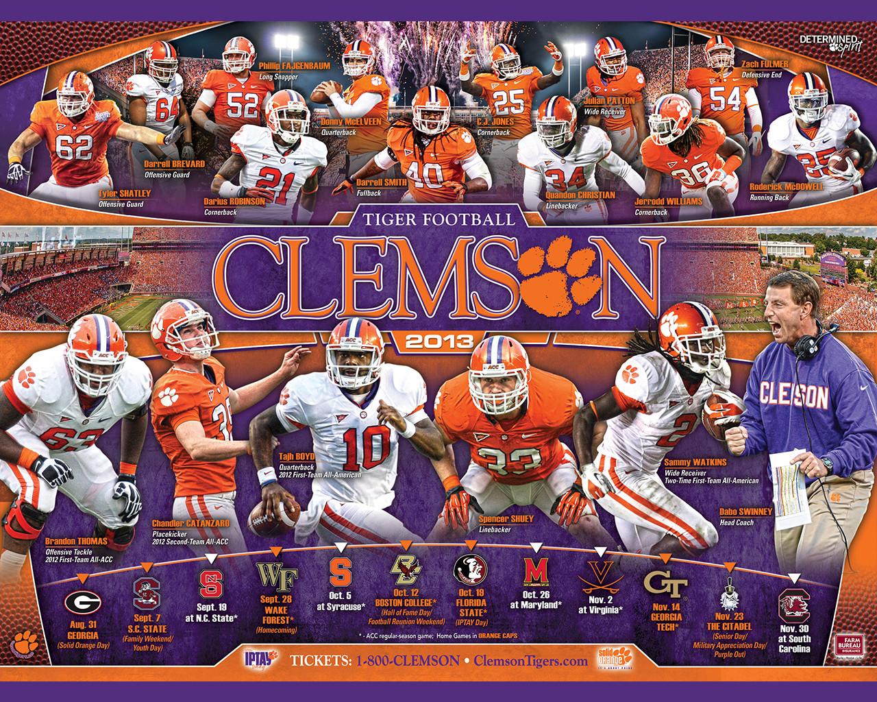 schedule clemson tiger football desktop wallpaper clemson tigers 1280x1024
