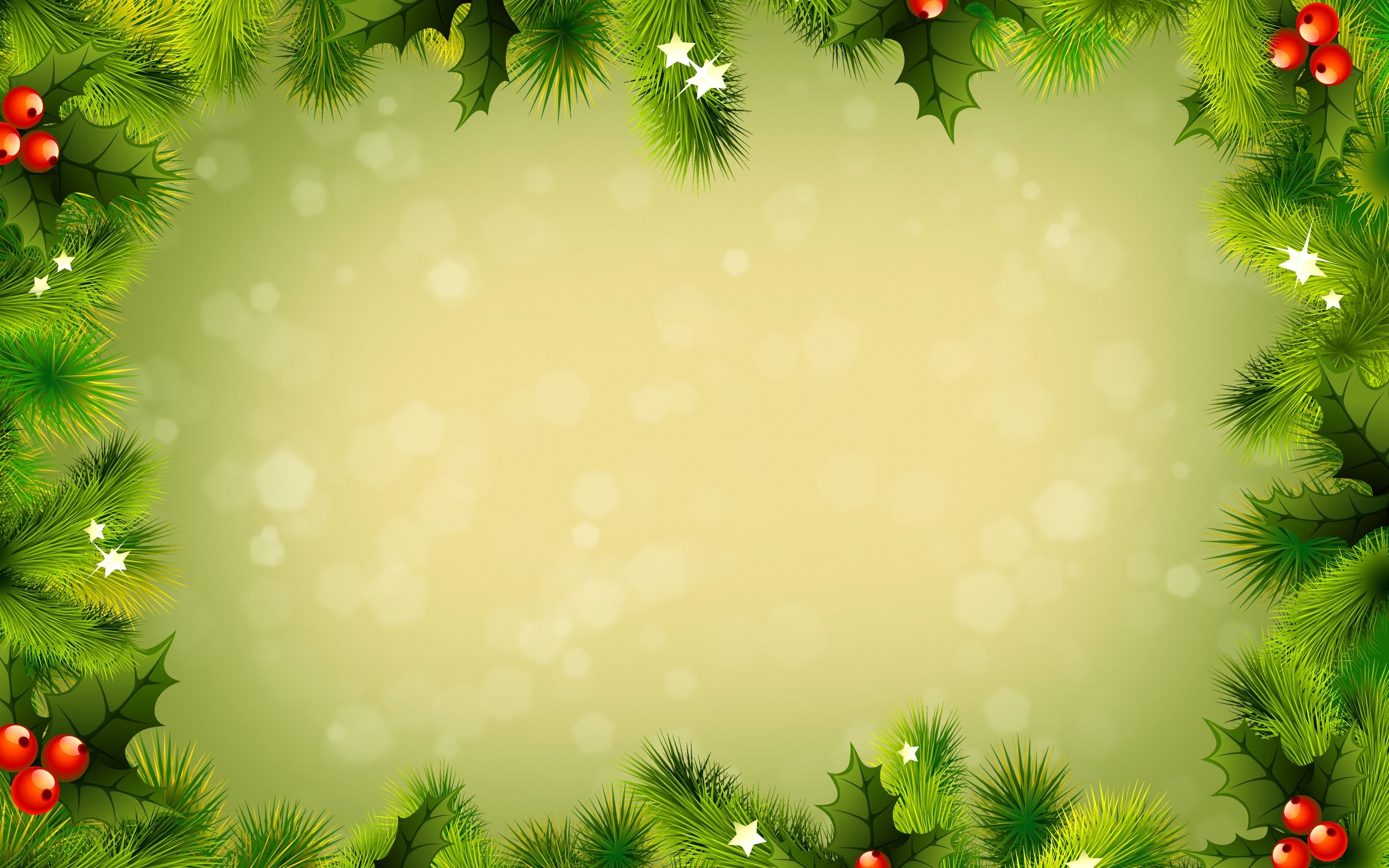 Green christmas decorations wallpaper 2560x1600