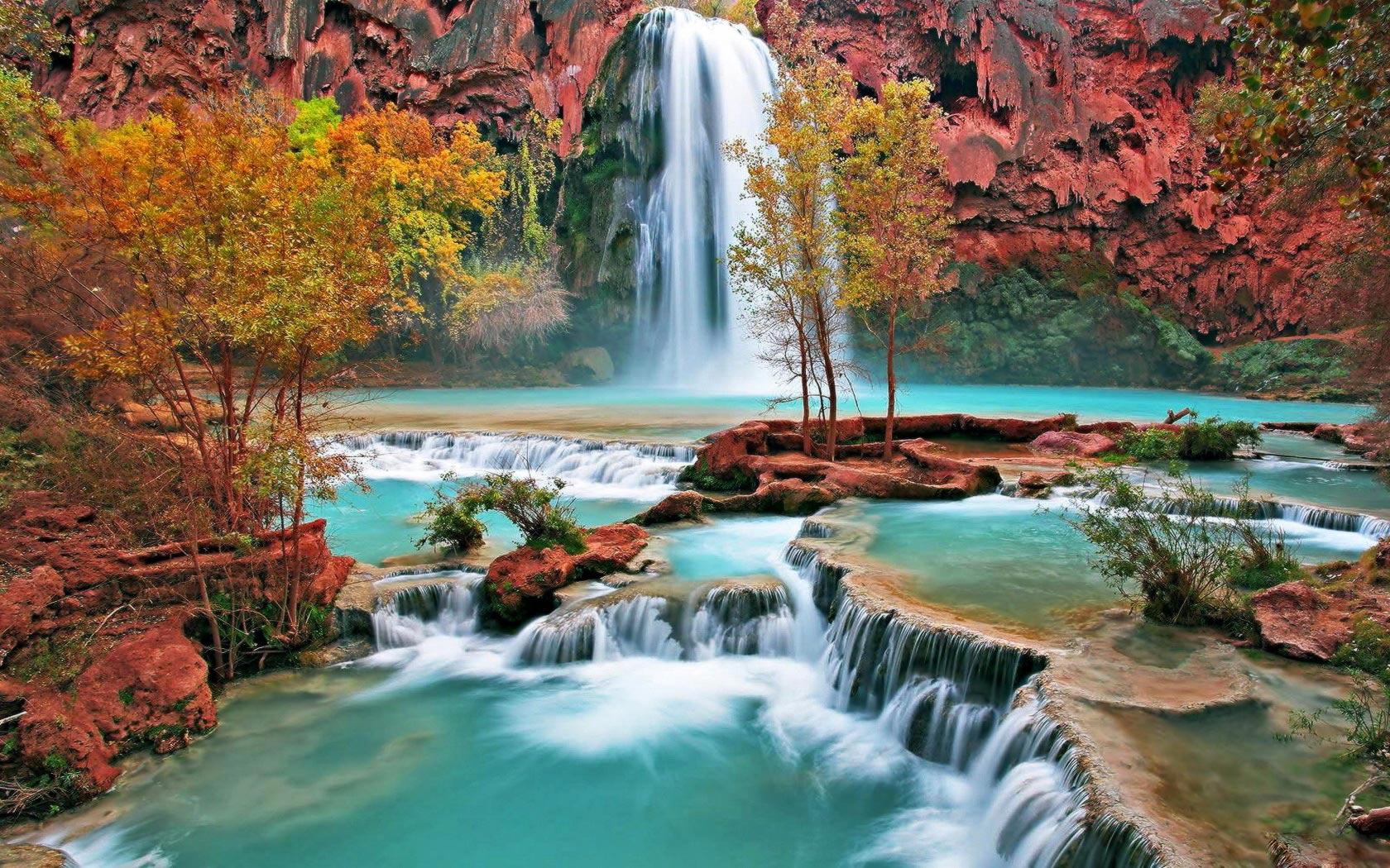 mountain waterfall beautiful wallpaper 1680x1050