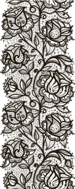 Abstract lace ribbon seamless pattern with elements flowers 262x653