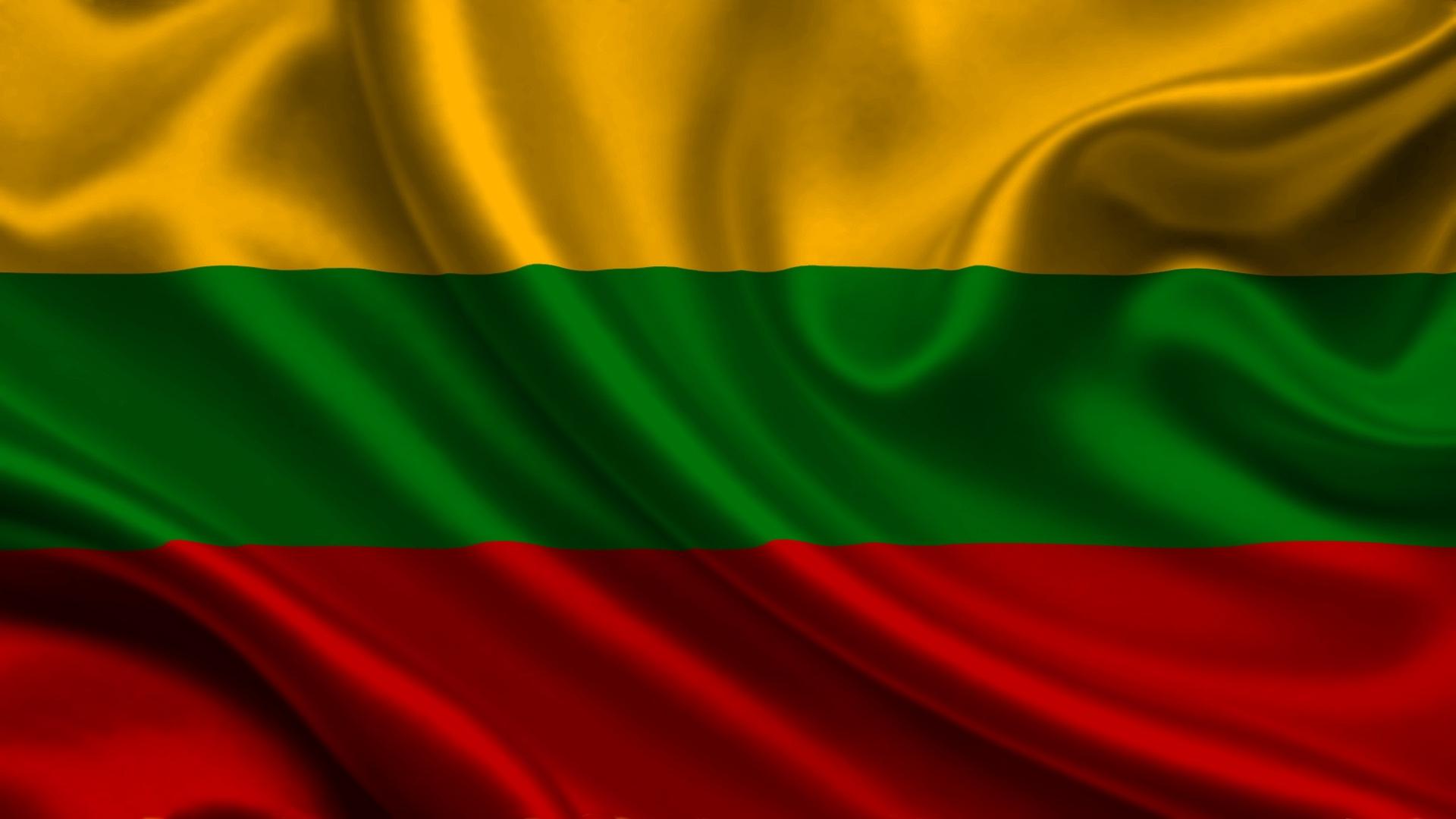 Lithuania Satin Flag Stripes Symbols   Stock Photos Images 1920x1080
