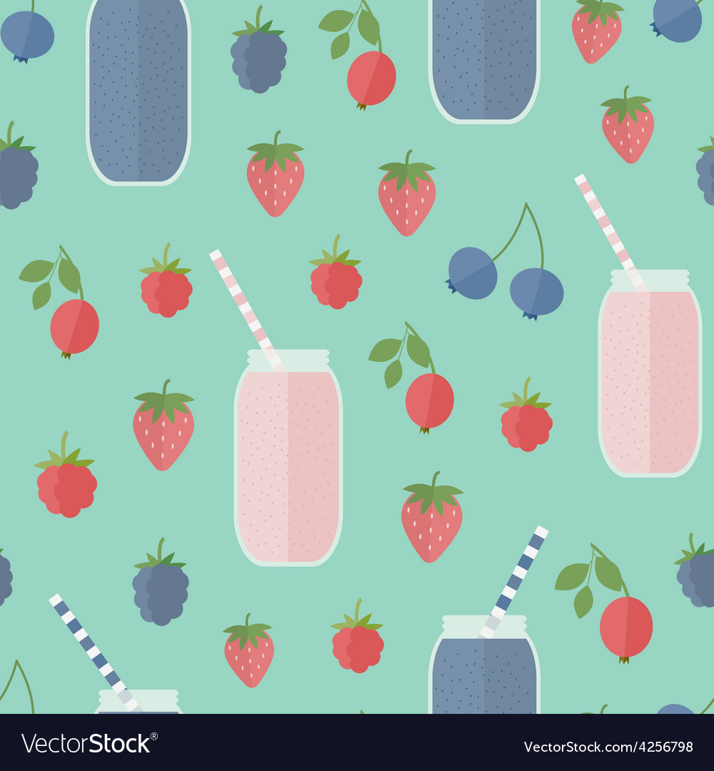 Seamless background Smoothie and berries Vector Image 1000x1080