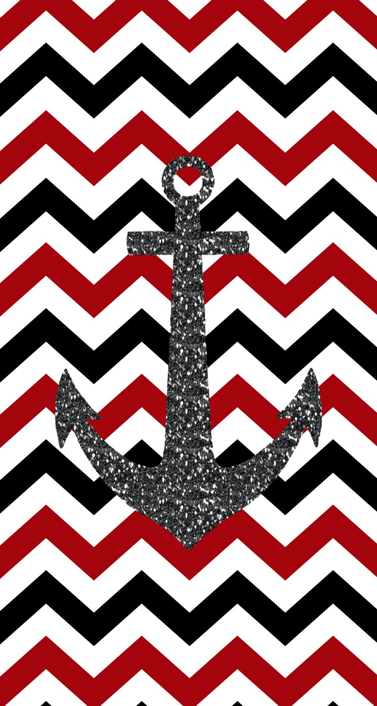 Cute Chevron with Anchors Wallpapers 744x1392