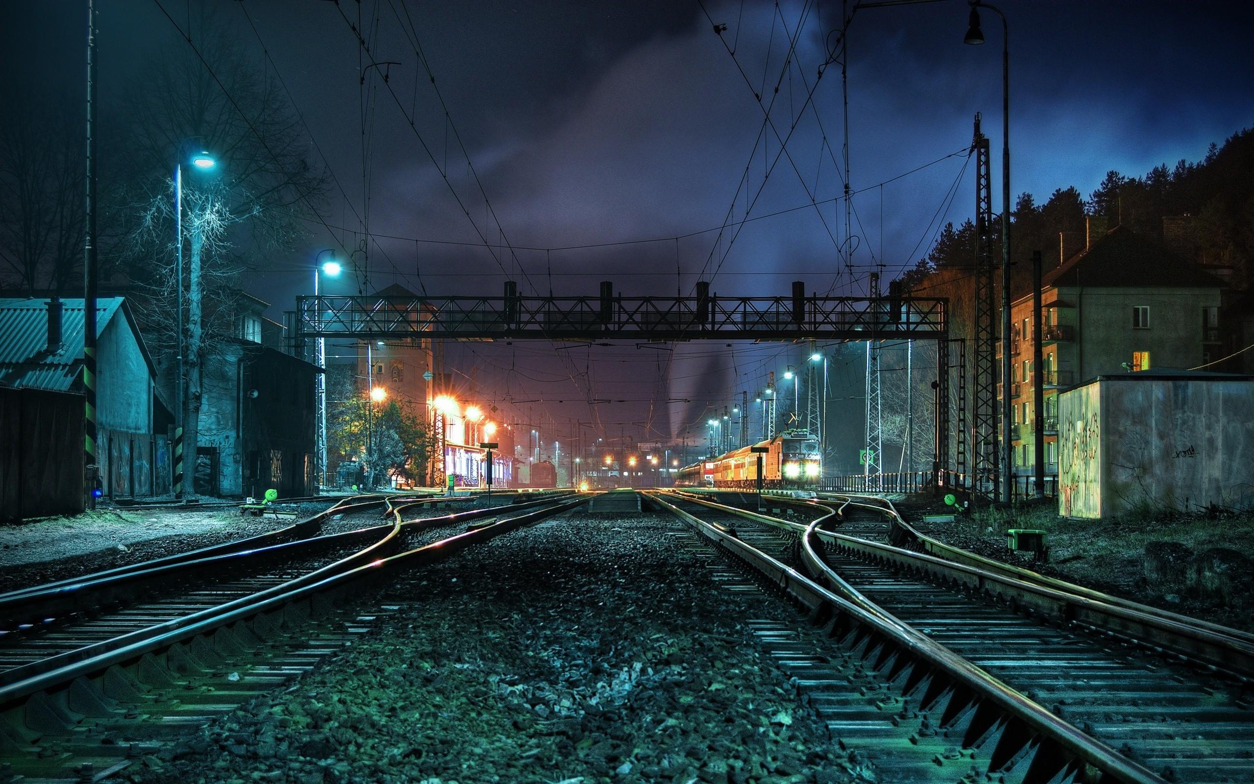 Lights Trains Railroad Tracks HD Background Wallpaper   HD Wallpapers 2560x1600