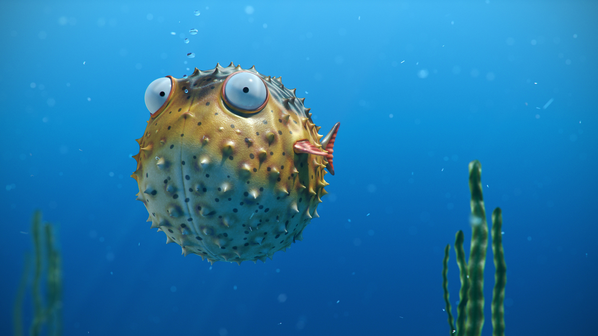 render puffer fish art bubbles funny ocean blue hd wallpaper 1920x1080