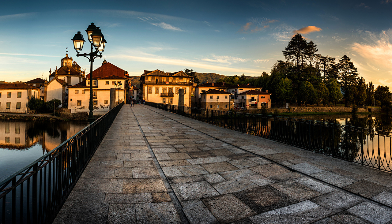 Wallpaper Portugal Roman Bridge Chaves bridge Evening Street lights 1280x732