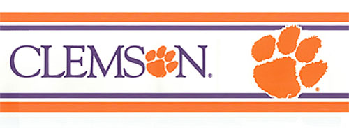 Clemson Tigers Prepasted Border   College Wallpaper Border Roll 500x183