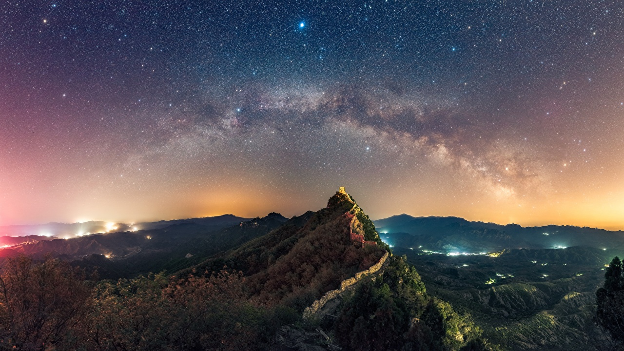 Wallpaper Stars Nature Mountains The Great Wall of China Sky Scenery 1280x720